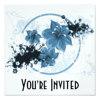3 Pretty Flowers - Blue Card