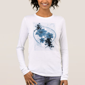 3 Pretty Flowers - Blue Long Sleeve T-Shirt