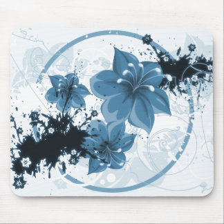 3 Pretty Flowers - Blue Mouse Pad