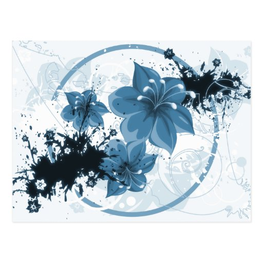 3 Pretty Flowers - Blue Postcard
