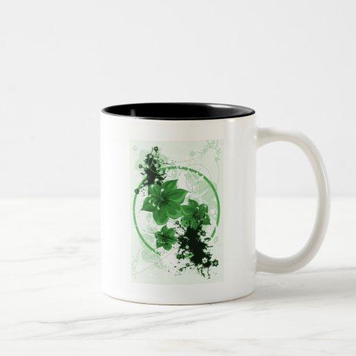 3 Pretty Flowers - Green Coffee Mug