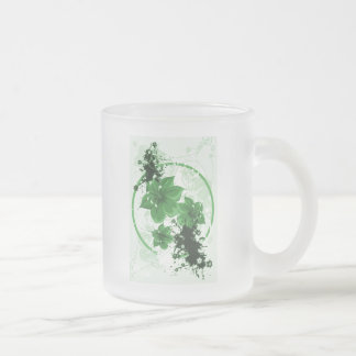 3 Pretty Flowers - Green Frosted Glass Coffee Mug
