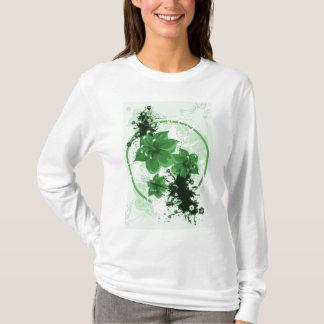 3 Pretty Flowers - Green T-Shirt