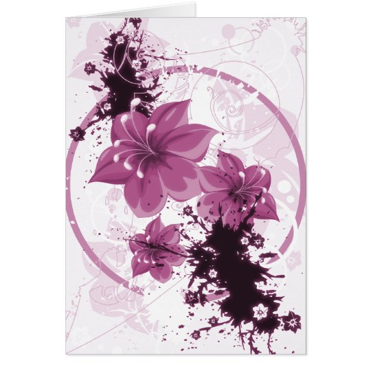 3 Pretty Flowers - Pink Card
