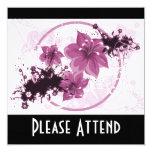 3 Pretty Flowers - Pink 5.25x5.25 Square Paper Invitation Card