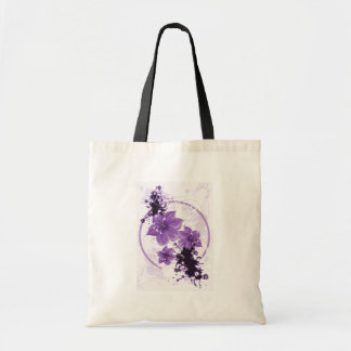 3 Pretty Flowers - Purple Canvas Bags