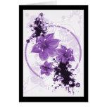 3 Pretty Flowers - Purple Greeting Card