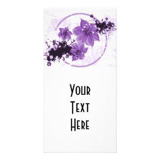 3 Pretty Flowers - Purple Customized Photo Card