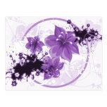 3 Pretty Flowers - Purple Post Cards