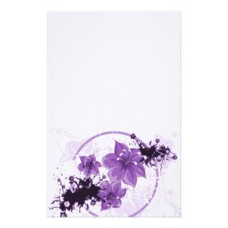 3 Pretty Flowers - Purple Custom Stationery