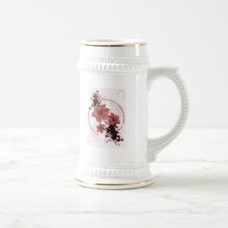 3 Pretty Flowers - Red Beer Stein