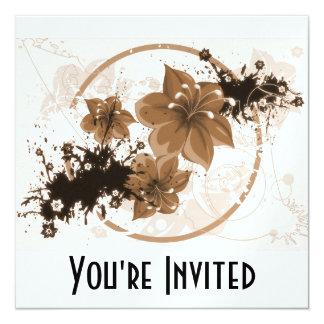 3 Pretty Flowers - Sepia Card
