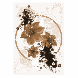 3 Pretty Flowers - Sepia Cutout