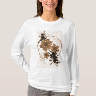 3 Pretty Flowers - Sepia T-Shirt