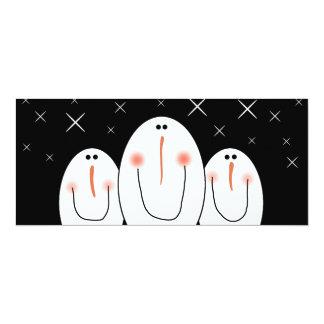 3 Primitive Folk Art Snowmen Holiday Party Card