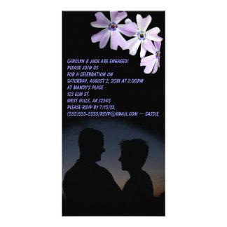 3 Purple Flowers Engagement Card