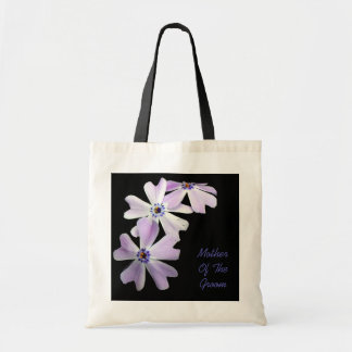 3 Purple Flowers MOTHER OF THE GROOM Budget Tote Bag