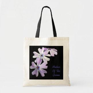 3 Purple Flowers MOTHER OF THE GROOM Tote Bag