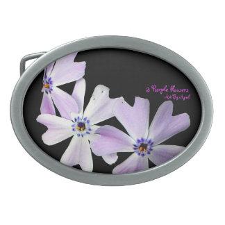 3 Purple Flowers Oval Belt Buckle