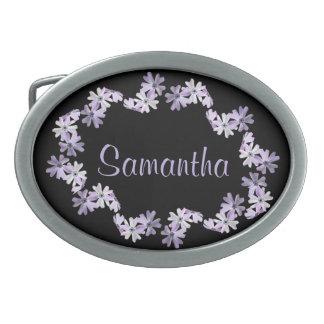 3 Purple Flowers Personalized Oval Belt Buckle