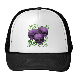 3 Purple Skulls w/Green Swirl Design Trucker Hat