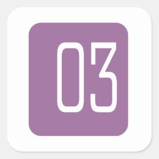 #3 Purple Square Square Sticker