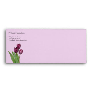 3 purple tulips with leaves envelope