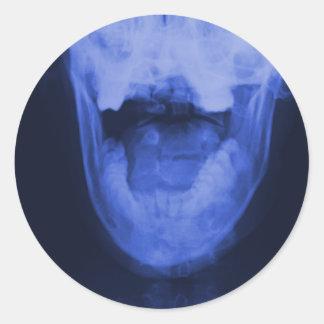 3 radiografiados - Azul electromágnetico Etiqueta Redonda