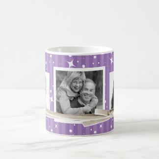 3 rayas lindas de la púrpura de los centelleos del taza de café