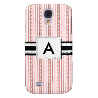 3 - Rayas rosadas cones monograma de la MOD Funda Para Galaxy S4