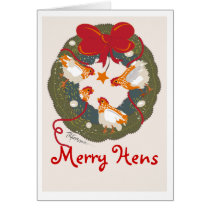 3 Red bow hens on wreath Christmas Card
