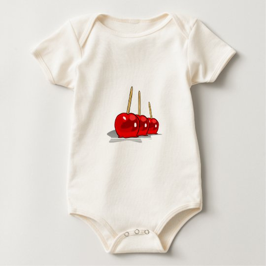 3 Red Candy Apples Baby Bodysuit