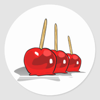 3 Red Candy Apples Classic Round Sticker