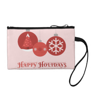 3 red Christmas baubles illustration Coin Purse