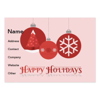 3 red Christmas baubles illustration Business Card Template