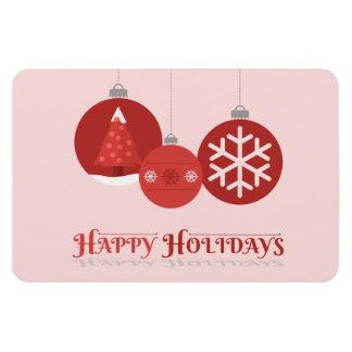 3 red Christmas baubles illustration Rectangular Magnet