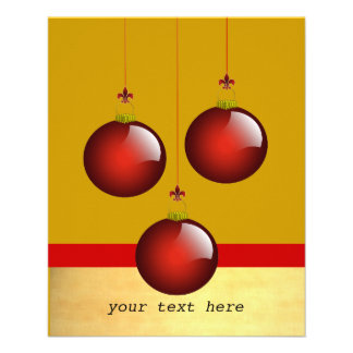 """3 Red Ornaments 4.5"""" X 5.6"""" Flyer"""