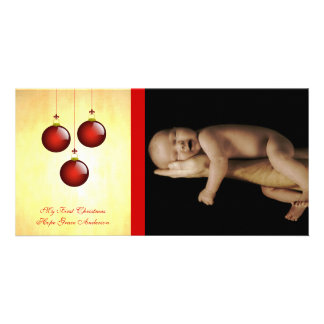 3 Red Ornaments Photo Card