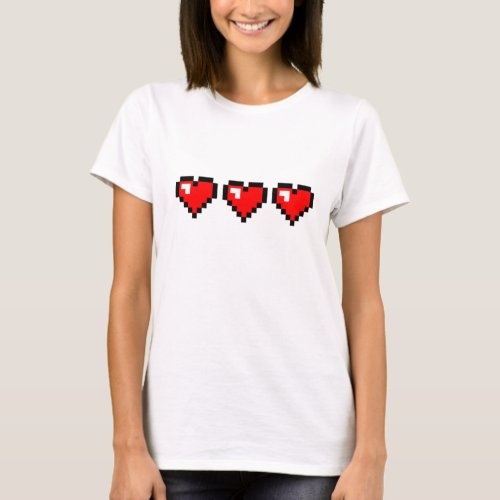 3 Red Pixel Hearts T_Shirt