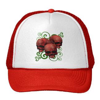3 Red Skulls w/Green Swirl Design Trucker Hat