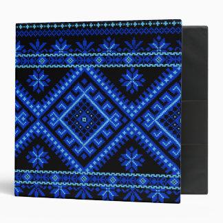 3 Ring Binder Ukrainian Cross Stitch Print Blue