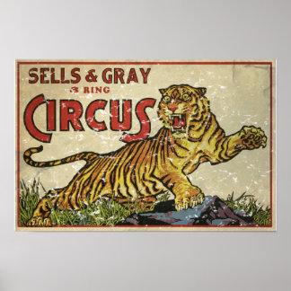 3 Ring Circus - circa 1930 distressed Posters