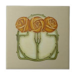"3 Roses Art Nouveau Repro Antique Ceramic Tile<br><div class=""desc"">Reproduced from an antique tile in our personal collection. Soft shades of clay, green, and cream with a beige background. Very elegant. Available in 4.5 and 6 inch tiles, as well as other items. Can be used for wall tiles, backsplashes in kitchen or bath, decorative accent tiles, coasters, trivets, and...</div>"