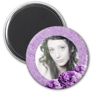 3 Roses/Photo 2 Inch Round Magnet
