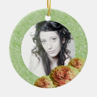 3 Roses/Photo Ceramic Ornament