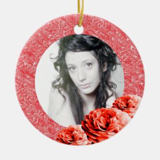 3 Roses/Photo Christmas Tree Ornaments