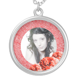 3 Roses/Photo Silver Plated Necklace