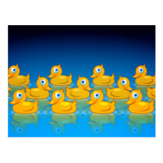3 rows of rubber ducks postcard