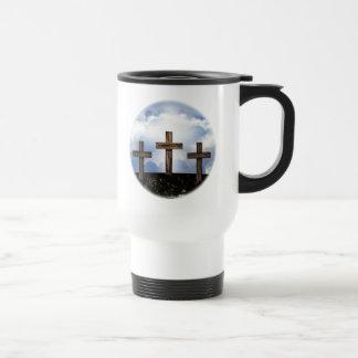 3 Rugged Crosses with Sky Travel Mug