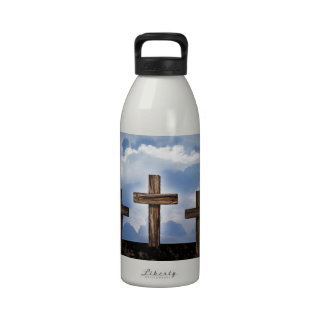 3 Rugged Crosses with Sky Reusable Water Bottles